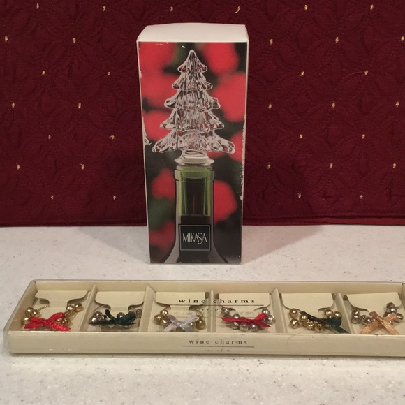 Mikasa Crystal Christmas Tree Bottle Stoppers Boxed Set